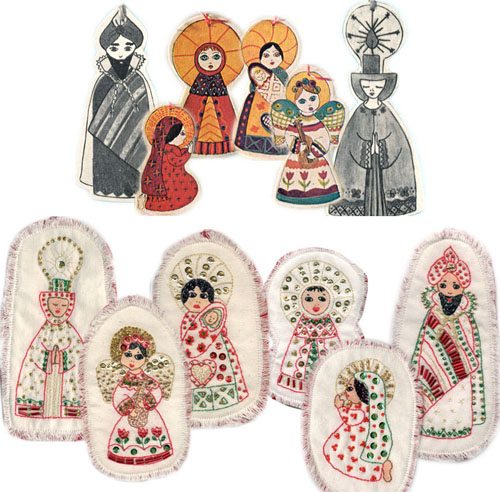 Balsa Wood Ornaments above, Embroidered and Beaded Ornaments below