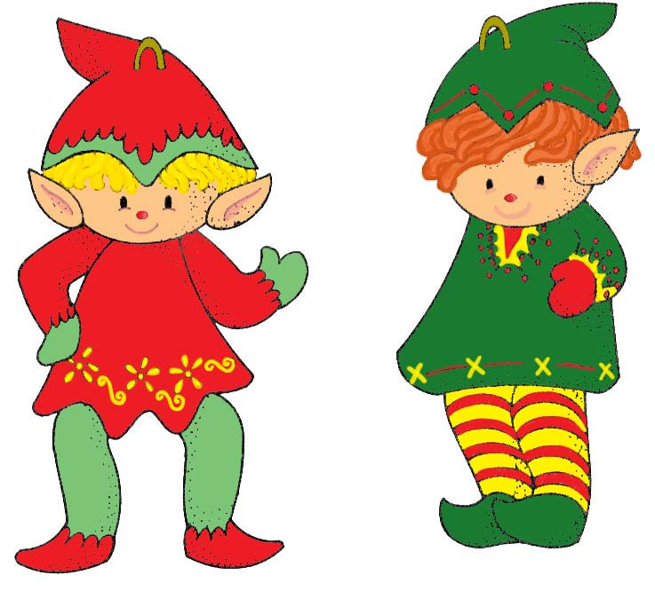 cute Christmas Elves, coloured