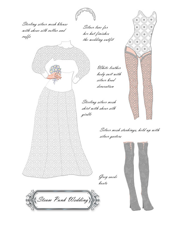 A steam punk wedding dress needs lots of accessorites