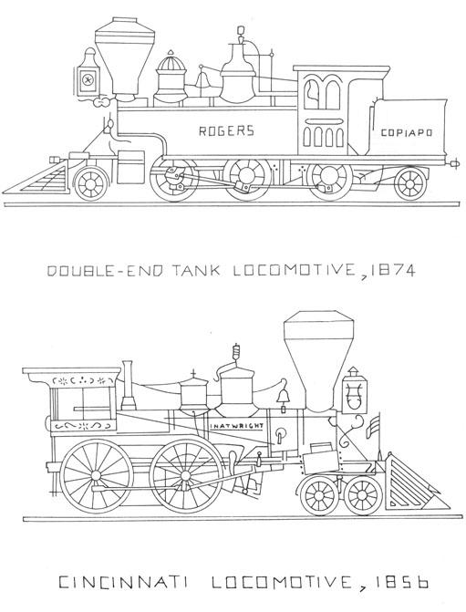 vintage locomotives to embroider