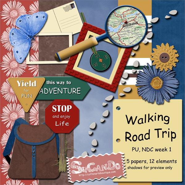 Walking Road Trip Scrapbook Kit