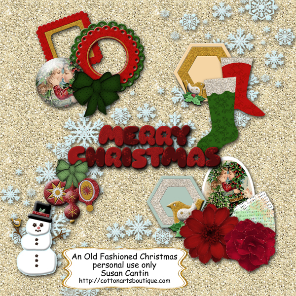 Old Fashioned Christmas elements 1