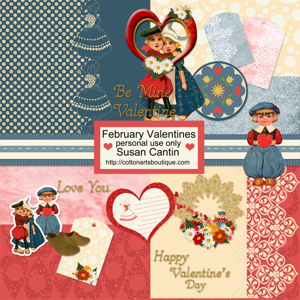 February Valentines Scrapbook Mini Kit