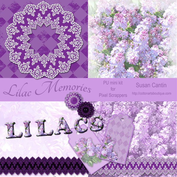 Lilac Memories Pu mini kit for scrapbooks