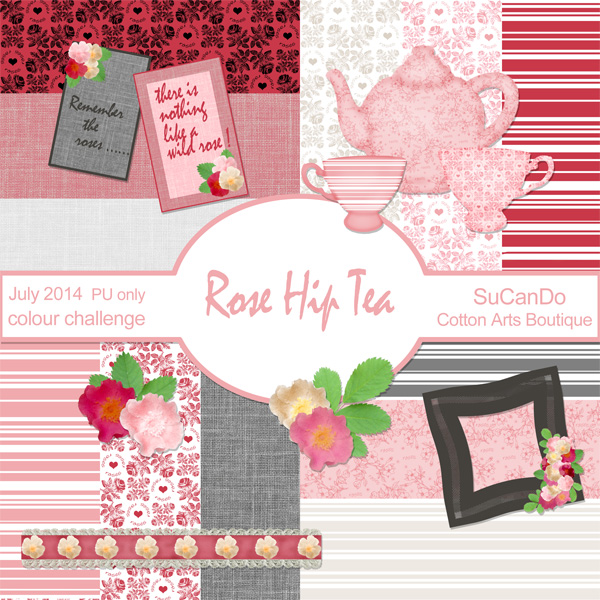Rose Hip Tea scrapbok mini kit