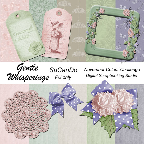 Gentle Whisperings scrapbook kit preview