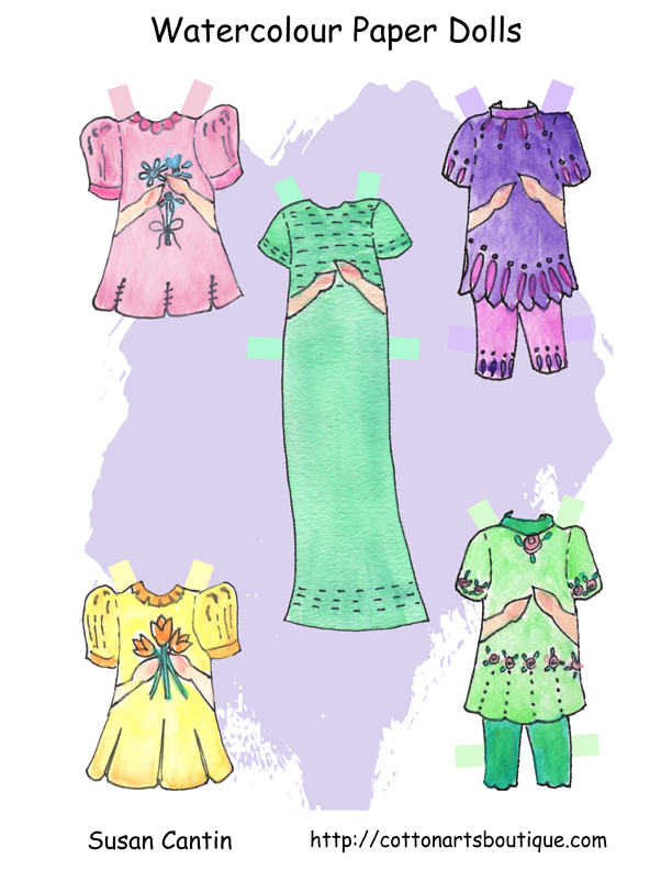 water colour paper dolls