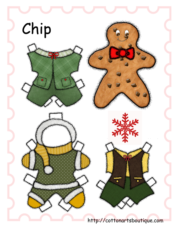 Chip Christmas paper doll