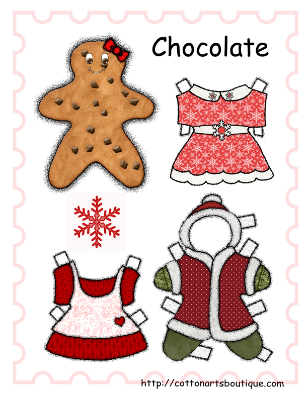 Chocolate Christmas Paper doll